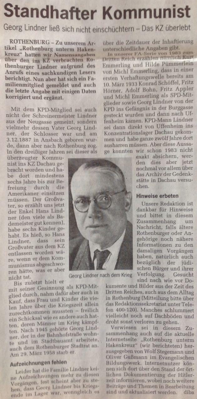 """Bericht im """"Fränkischen Anzeiger"""" vom 2. April 2014"""