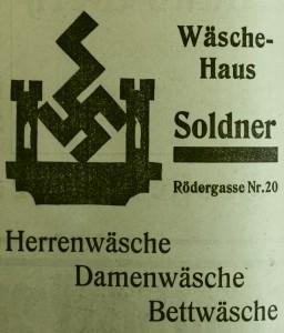 Ein Rothenburger Geschäft war vom Nationalsozialismus offensichtlich so begeistert, dass es das Firmenlogo mit dem Hakenkreuz verband