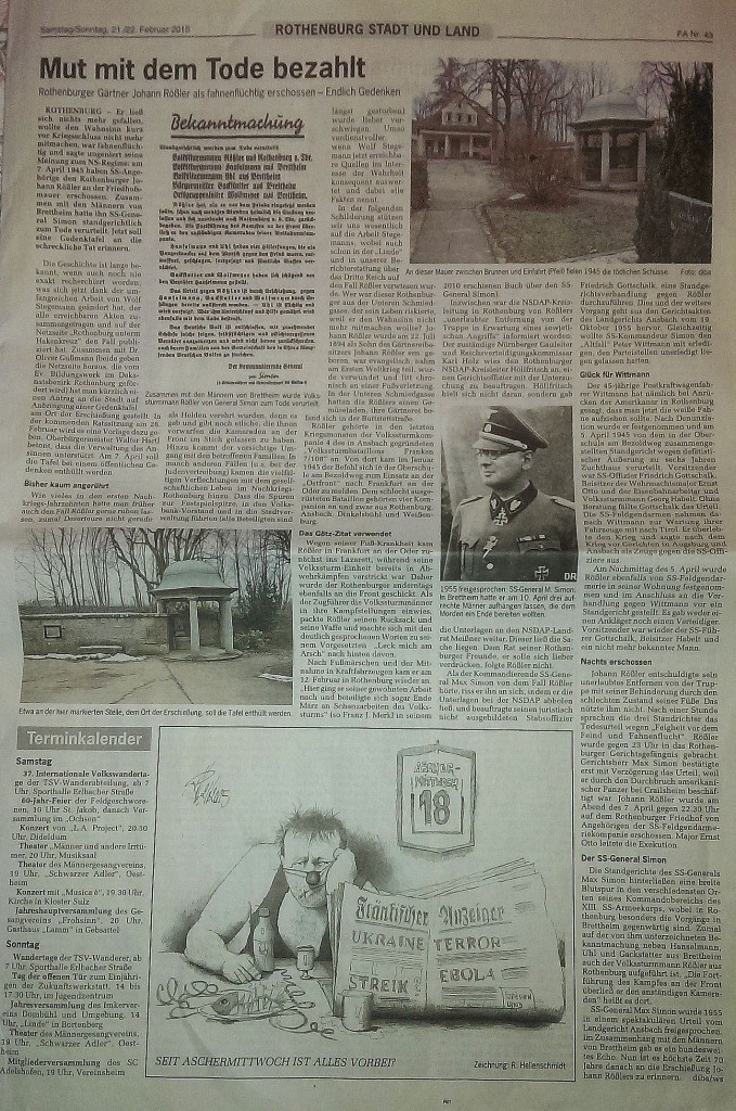 """""""Fränkischer Anzeiger"""" vom 21. Februar 2015"""