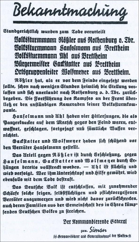 Hinrichtungsveröffentlichung Rößlers und anderer auf Plakaten 1945