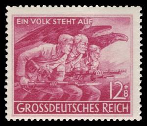 Briefmarke von 1945  diente der Durchhalte-Propaganda