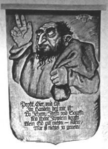 Eine der antisemitischen Tafeln (Galgentor)