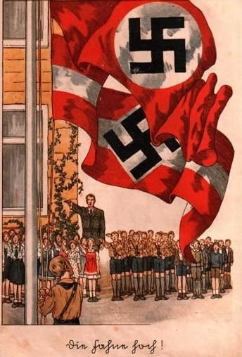 NS-Propagandaplakat Flaggenappell auf dem Schulhof