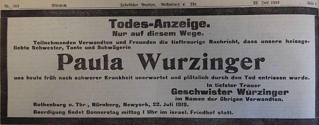 Todesanzeige Paula Wurzinger 1919