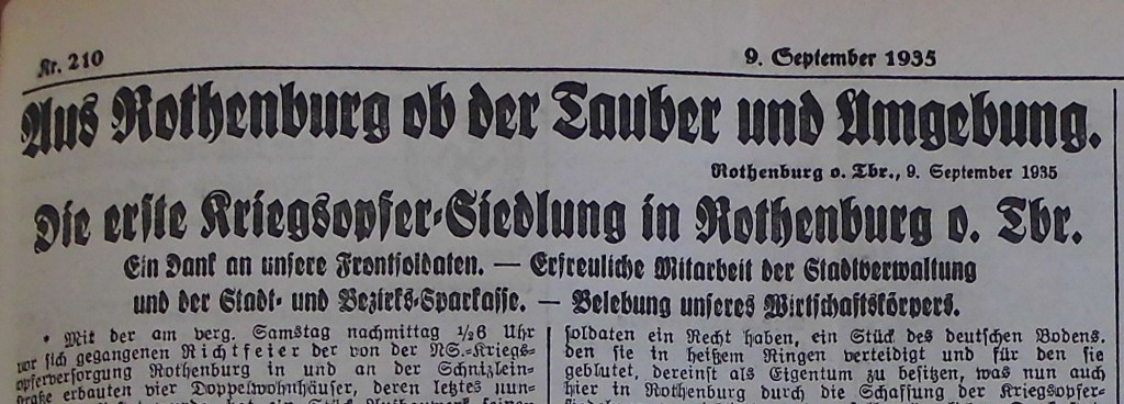 """Ausriss """"Fränkischer Anzeiger"""" vom 9. September 1935"""