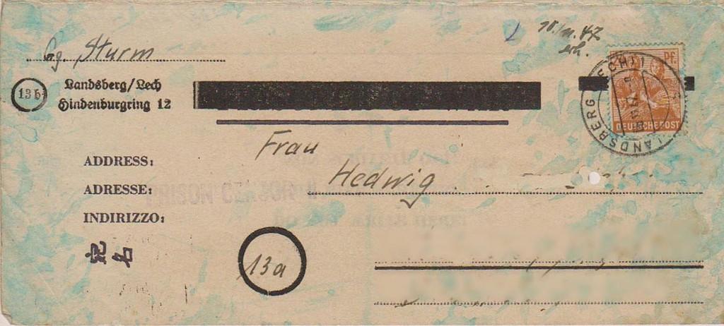 Briefumschlag aus dem Todestrakt des Landsberger Gefängnisses