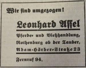 Arisierungsanzeige Assels im FA vom 5. November 1938