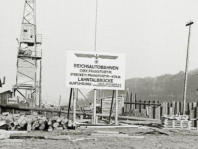 Autobahnbau bei Limburg 1937; Foto: Diözesanarchiv Limburg, Nachlass Foto Heinz