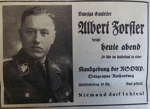Gauleiter Albert Forster zu Besuch in der Stadt