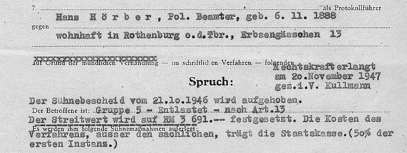 Ausriss Spruch Hans Hörber