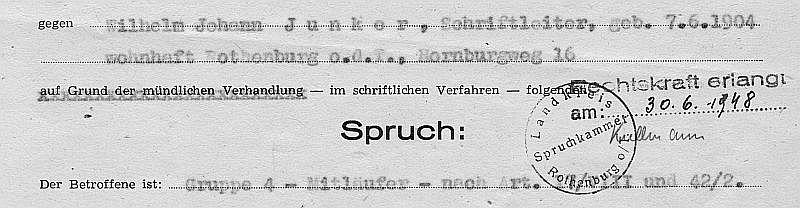 Ausriss Spruchkammer-Akte Junker