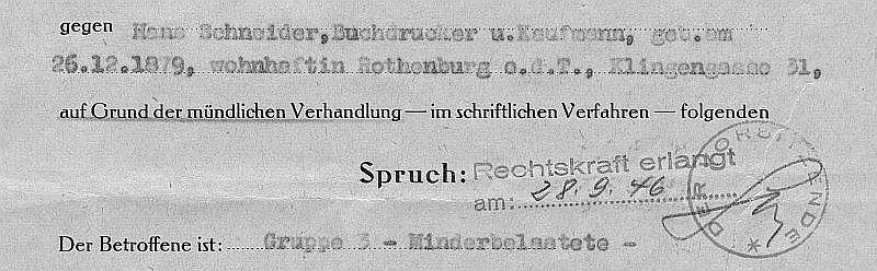 Ausriss aus dem Spruch Hans Schneider