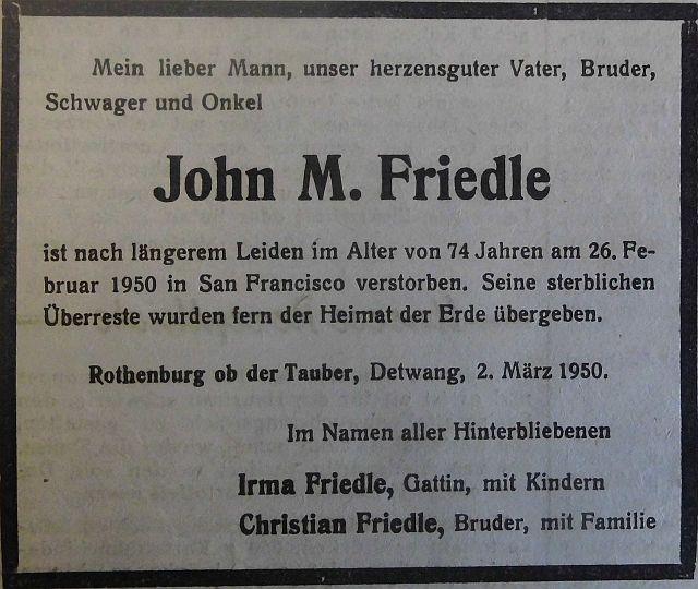 Todesanzeige im FA vom 3. März 1950