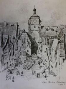 Galgengasse, Zeichnung von Hans Prentzel 1934