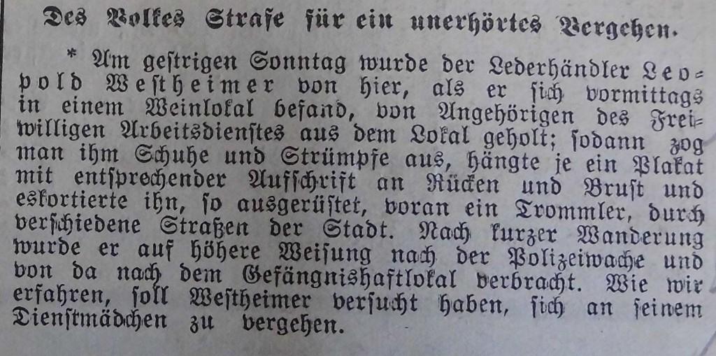 """Meldung im """"Fränkischen Anzeiger"""" vom 7. August 1933"""