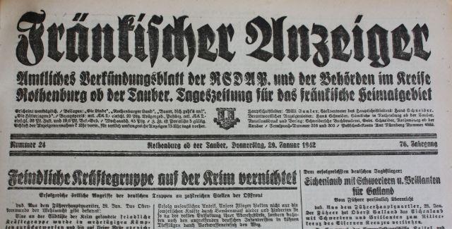 Fränkischer Anzeiger, Ausgabe vom 29. November 1942