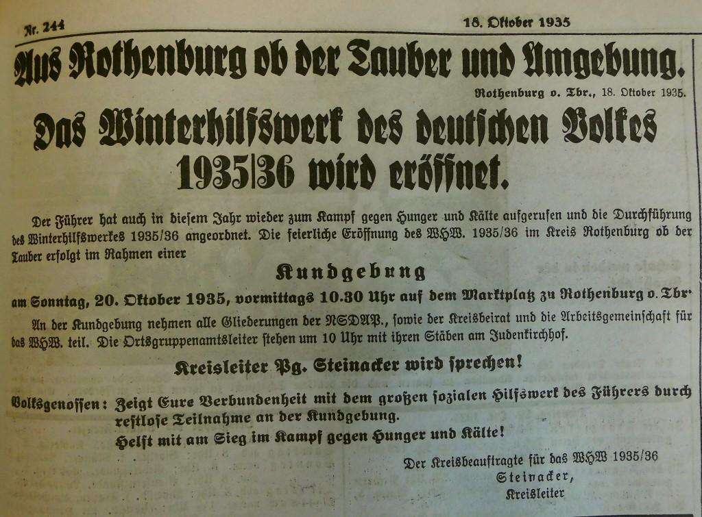 Eröffnung des Winterhilfswerks in Rothenburg ob der Tauber; Fränkischer Anzeiger vom 18. November 1935