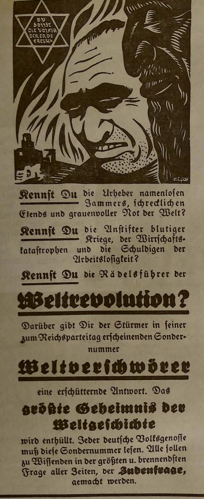 Antisemitische Anzeige im FA 1936