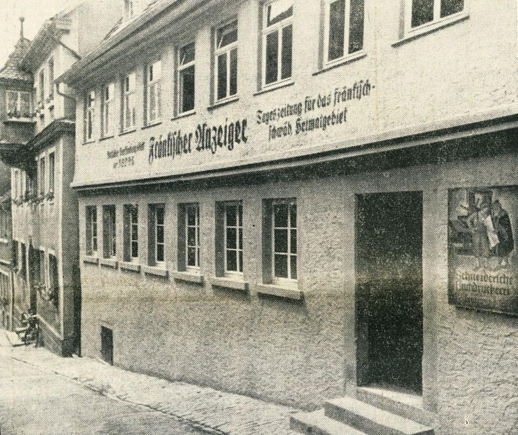 Verlagshaus und Druckerei damals in der Hofbronnengasse