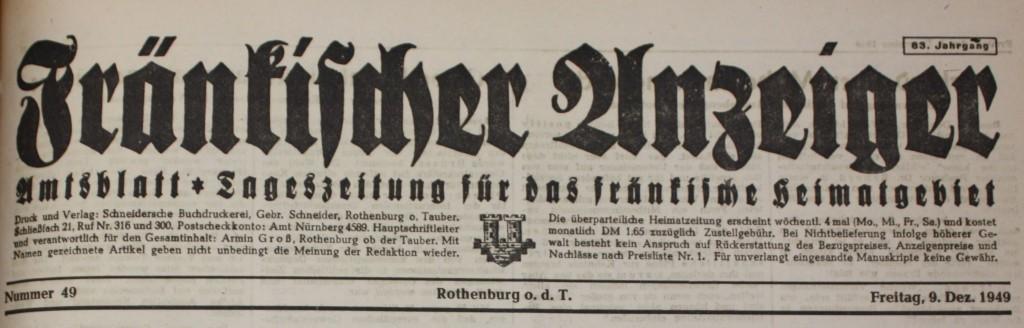 Zeitungskopf 1949
