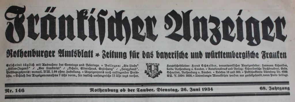 Zeitungskopf 1934