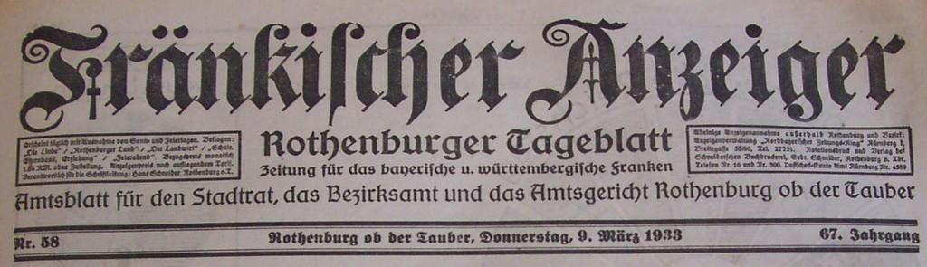 Zeitungskopf März 1933