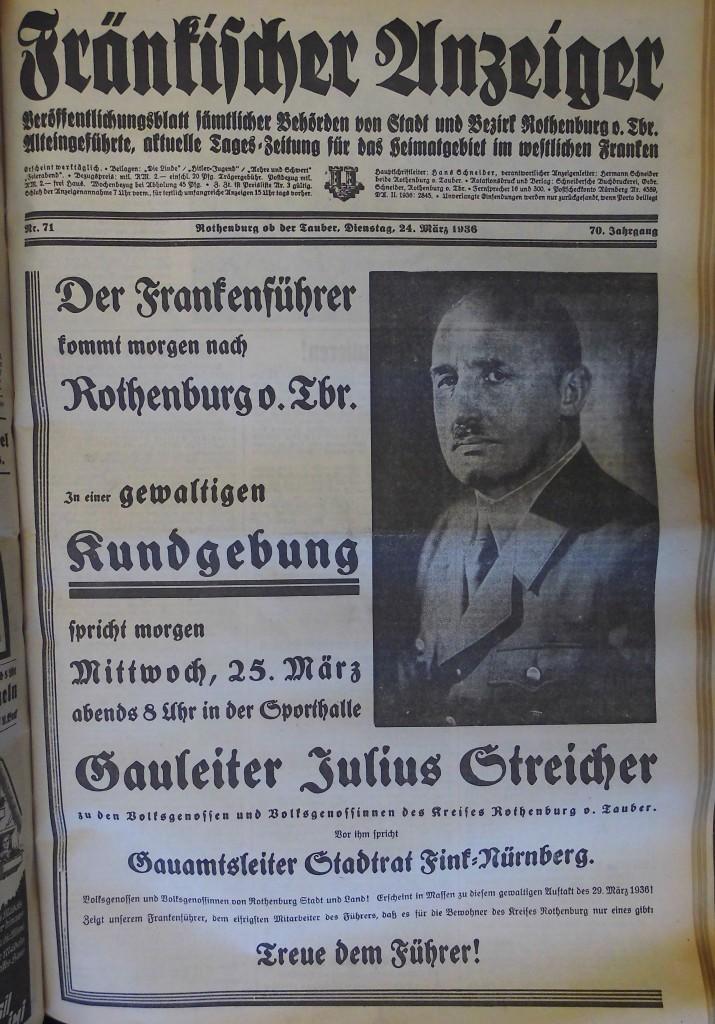 Titelseite für Julius Streicher, 24. März 1936