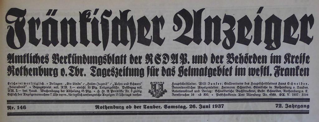 Zeitungskopf 1937