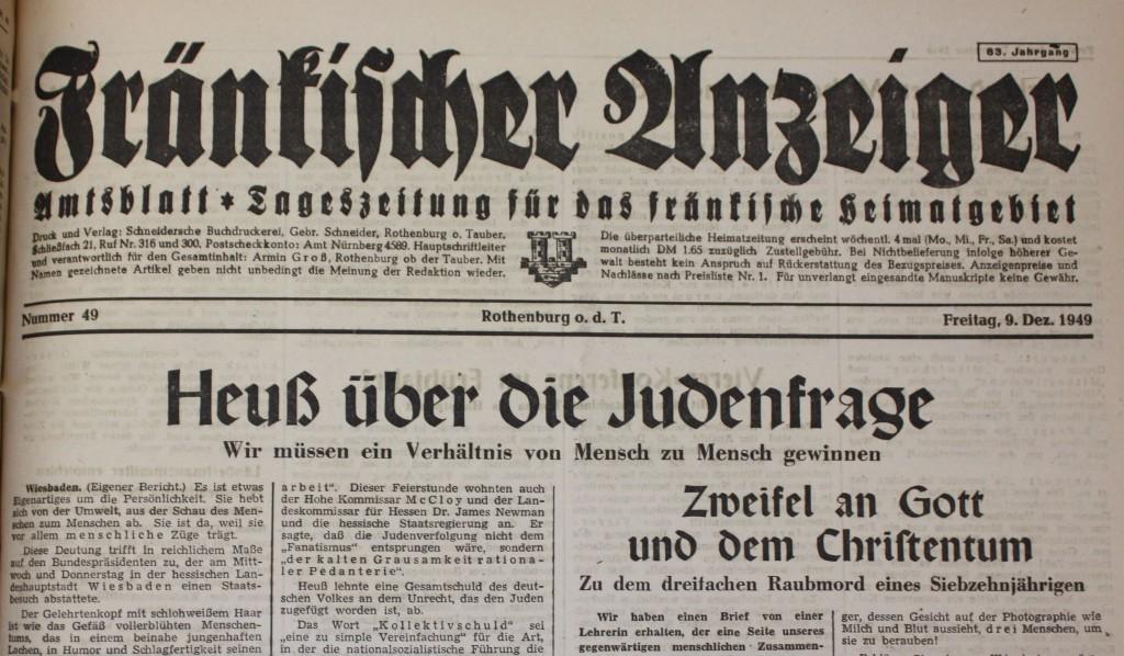 """""""Fränkischer Anzeiger"""" vom 9. Dezember 1949"""