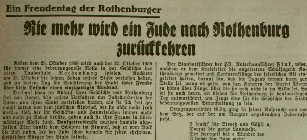 """""""Fränkischer Anzeiger"""" vom 22. Oktober 1938 (Ausriss)"""