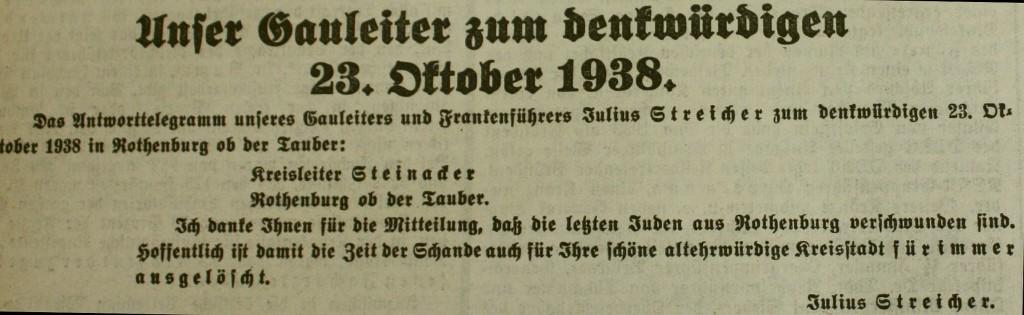"""Das Judenfrei-Telegramm des Gauleiters: """"Fränkischer Anzeiger"""" vom 27. Oktober 1938"""