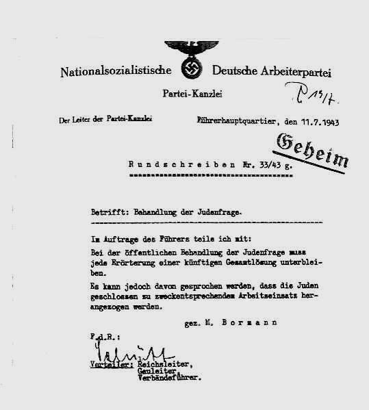 """Schreiben Martin Bormanns über das Kommunizieren der """"Judenfrage"""""""