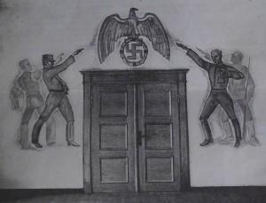 Ernst Unbehauens Malerei im Sitzungssaal in NS-Stil