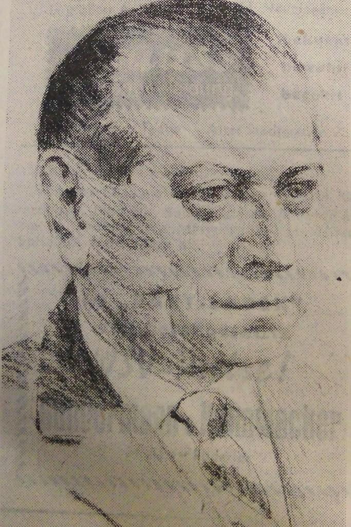 Stadtrat in Rothenburg Dr. jur. Friedrich Schmidt nach 1952; Zeichnung H. Böhme; entn. FA 1965