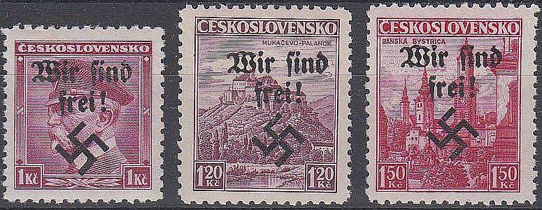 """Briefmarken mit Aufdruck nach der """"Befreriung"""""""