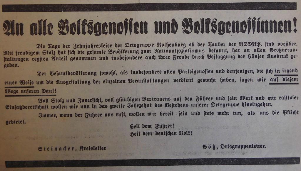 """Aufruf im """"Fränkischen Anzeiger"""""""