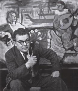 Ernst Unbehauen in seinem Atelier in Wiesenheid 1951; Foto: Archiv Feiler