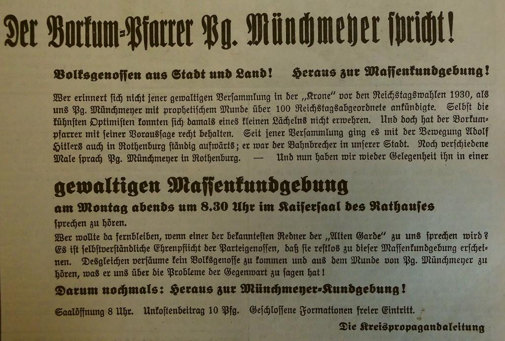 """Ankündigung im """"Fränkischen Anzeiger"""" vom 10. August 1935"""