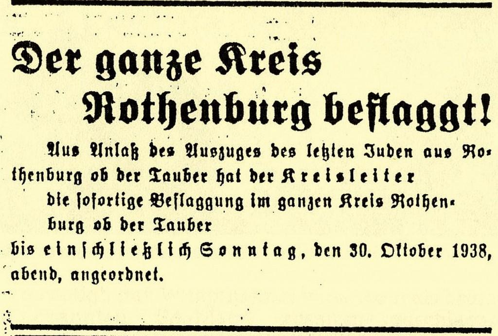 """Anzeige im """"Fränkischen Anzeiger"""" vom 23. Oktober 1938"""