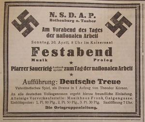 Ankündigung zum 1. Mai 1933; FA vom 25. April 1933