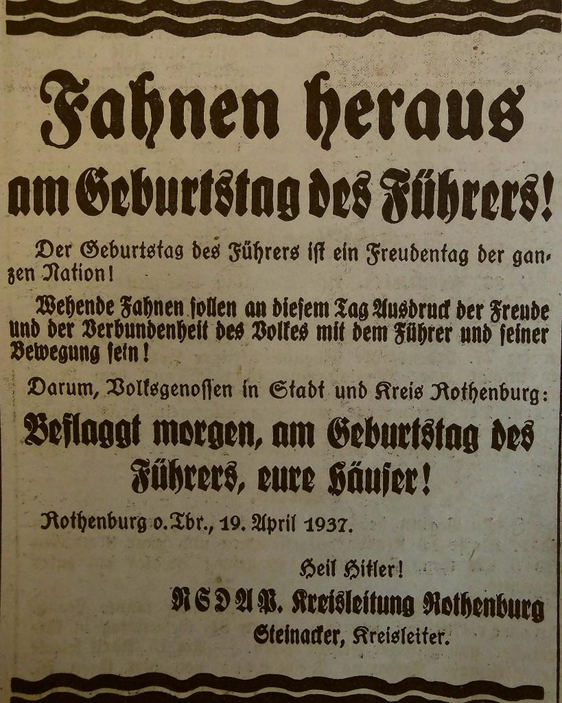 Führers Geburtstag; FA vom 20. April 1937