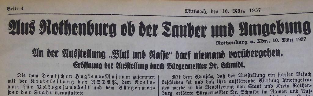 """Ausstellung """"Blut und Rasse""""; FA vom 10. März 1937 (Ausriss)"""