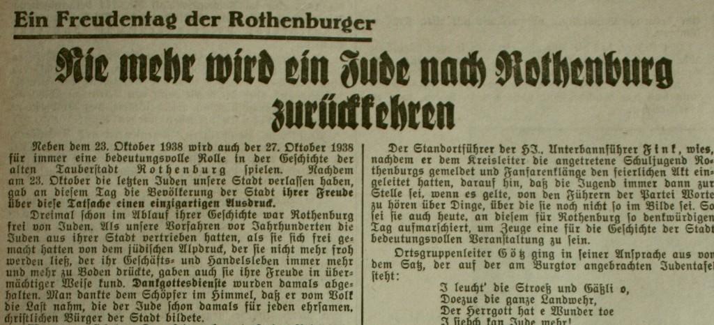 Rothenburg judenfrei; FA vom 27. Oktober 1937 (Ausriss)