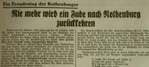 Rothenburg judenfrei; FA vom 27. Oktober 1938 (Ausriss)