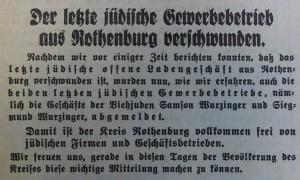 Juden-letzter Betrieb in Ro schließt  30.9.1938