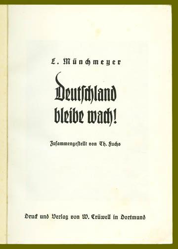 Innentitel einer weiteren Hetzschrift Münchmeyers