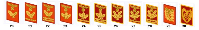 Kragensplegel der Politischen Leiter: Bereichsleiter (20), Oberbereichsleiter (21), Hauptbereichsleiter (22), Dienstleiter (23), Oberdienstleiter (24), Hauptdienstleiter (25), Befehlsleiter (26), Oberbefehlsleiter (27), Hauptbefehlsleiter (28), Gauleiter (29), Reichsleiter (30)
