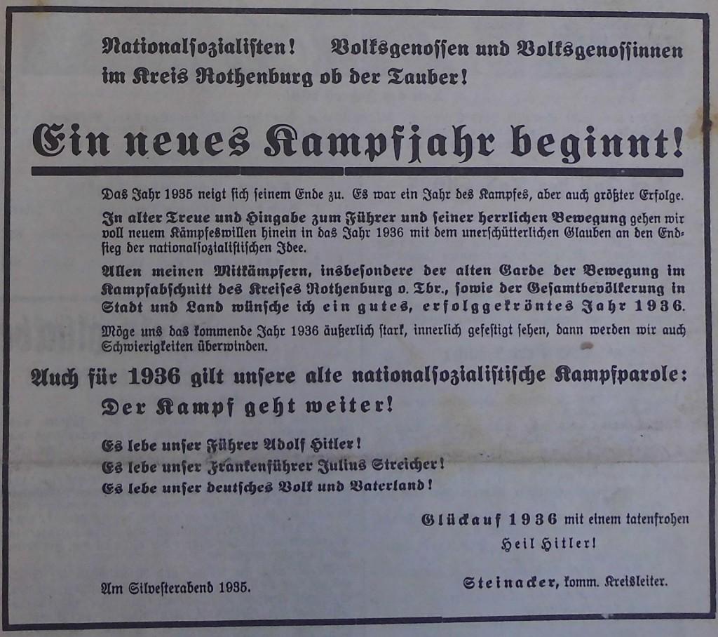 Anzeige der Partei zum Jahreswechsel 1935/36