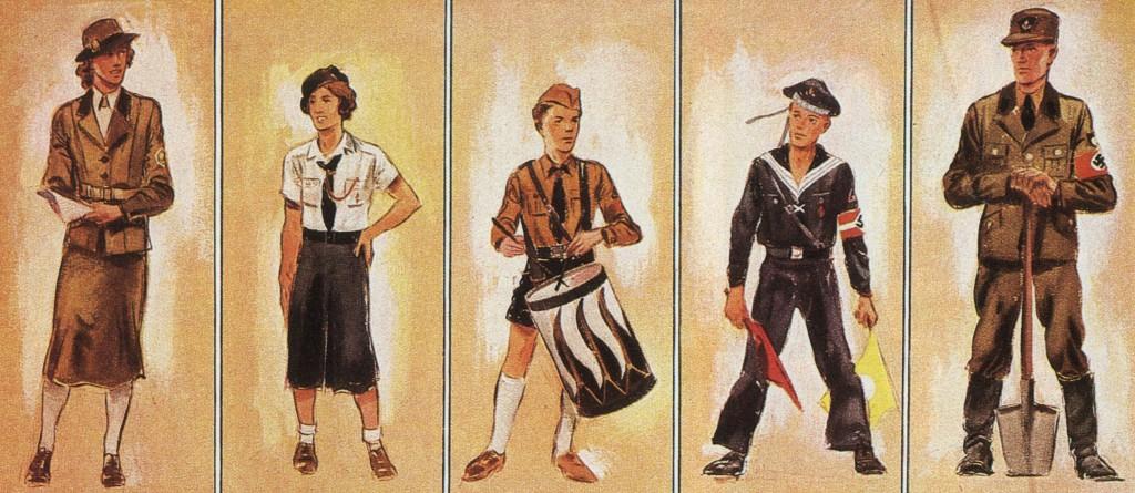 So sahen sie aus: Lagerführerin, Sommertracht, Trommmelbube Jungvolk, Marine-Hitlerjunge, Arbeitsmann RAD