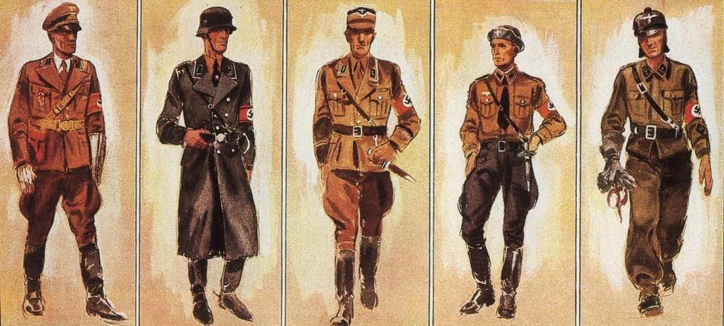 Ein uniformiertes Land: Kreisleiter, SS-Oberscharführer, SA-Standartenführer, Rottenführer, Oberscharführer (v. l.)